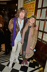 SIMON BARTHOLOMEW and RITA KVIST at Beautiful - The Carole King Musical 1st Birthday celebration evening at The Aldwych Theatre, London on 23rd February 2016.
