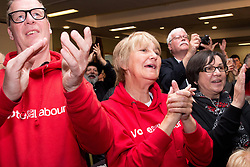 May 6, 2017 - Leicester, Leicestershire, UK - Leicester, UK. Labour Leader JEREMY CORBYN speaking at a rally in Leicester today. Supporters cheering during his speech. (Credit Image: © Dave Warren/London News Pictures via ZUMA Wire)