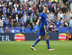 Jamie Vardy of Leicester City walks off after being shown a red card for appearing to dive - Mandatory by-line: Jack Phillips/JMP - 17/04/2016 - FOOTBALL - King Power Stadium - Leicester, England - Leicester City v West Ham United - Barclays Premier League