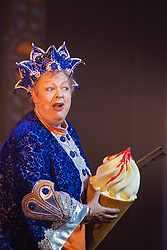 "© Licensed to London News Pictures. 05/12/2013. London, England. Picture: Jo Brand. The Panto Aladdin starring Jo Brand as the Genie of the Ring and Matthew Kelly as Widow Twankey opens at the New Wimbledon Theatre, Wimbledon, London. From 6 December 2013 to 10 January 2014. Further actors: the dance group ""Flawless"" as the Peking Police Force, Oliver Thornton as Aladdin, David Bedella as Abanazar, Claire-Marie Hall as Princess Jasmine. Photo credit: Bettina Strenske/LNP"