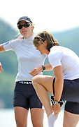 Bled, SLOVENIA, General View,  GBR W2X, left Anna WATKINS [BEBINGTON], preparing for a training outing.  1st FISA World Cup, on Lake Bled.  Thursday  27/05/2010  [Mandatory Credit Peter Spurrier/ Intersport Images]