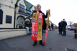 20 February 2017 - The FA Cup - (5th Round) - Sutton United v Arsenal - Half and Half scarves for sale outside a local pub - Photo: Marc Atkins / Offside.