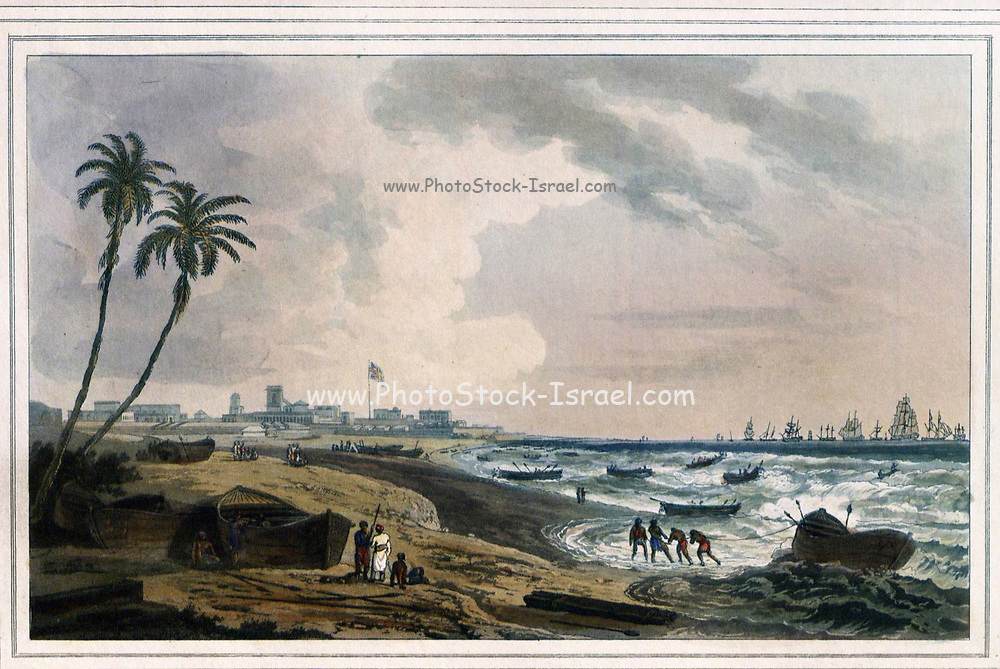 South East View Of Fort St. George, Madras [Chennai]; Fort St George was the earliest fortified settlement of the East India Company in south India, the fort being begun in 1640. It was, however, completely unprotected from the sea until the construction of a protected harbour in the late 19th Century; ships had to anchor in the roads and land their passengers and cargoes by means of small boats. Simple wooden boats called masula were used to transport people and goods through the heavy surf and then boatsmen would carry the passengers ashore on their shoulders. From the book ' Oriental scenery: one hundred and fifty views of the architecture, antiquities and landscape scenery of Hindoostan ' by Thomas Daniell, and William Daniell, Published in London by the Authors July 1, 1812