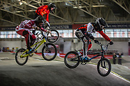 #127 (TREIMANIS Edzus) LAT and #572 (BRETHAUER Luis) GER at the 2016 UCI BMX Supercross World Cup in Manchester, United Kingdom<br /> <br /> A high res version of this image can be purchased for editorial, advertising and social media use on CraigDutton.com<br /> <br /> http://www.craigdutton.com/library/index.php?module=media&pId=100&category=gallery/cycling/bmx/SXWC_Manchester_2016
