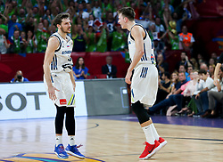 Goran Dragic of Slovenia and Luka Doncic of Slovenia during the Final basketball match between National Teams  Slovenia and Serbia at Day 18 of the FIBA EuroBasket 2017 at Sinan Erdem Dome in Istanbul, Turkey on September 17, 2017. Photo by Vid Ponikvar / Sportida