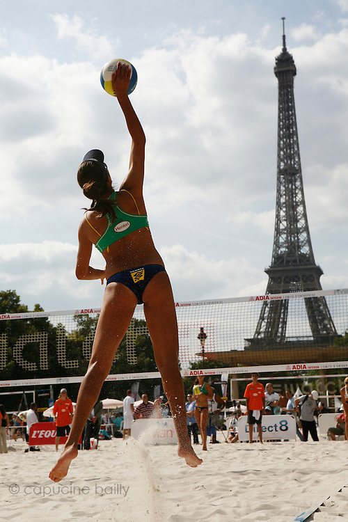 Wednesday June 18th 2008. Paris, France.Swatch FIVB World Tour - Henkel Grand Chelem...A international Beach Volley Competition takes place for a week on the Champ de Mars in Paris.