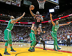 November 22, 2017 - Miami, FL, USA - The Miami Heat's Dion Waiters (11) drives to the basket in the second half against the Boston Celtics at the AmericanAirlines Arena in Miami on Wednesday, Nov. 22, 2017. The Heat won, 104-98. (Credit Image: © Al Diaz/TNS via ZUMA Wire)