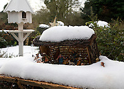 Nativity story scene outside in snow
