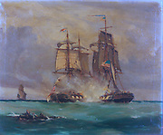 Battle Scene in the English Channel between American Ship 'Wasp' and the English Brig 'Reindeer' by Thomas Whitcombe, 1812, oil on canvas, 30 x 20 inches