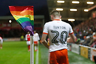 A rainbow coloured corner flag part of the Rainbow Laces campaign to promote LGBT inclusivity in football, during the EFL Sky Bet League 1 match between Fleetwood Town and Blackpool at the Highbury Stadium, Fleetwood, England on 25 November 2017. Photo by Paul Thompson.