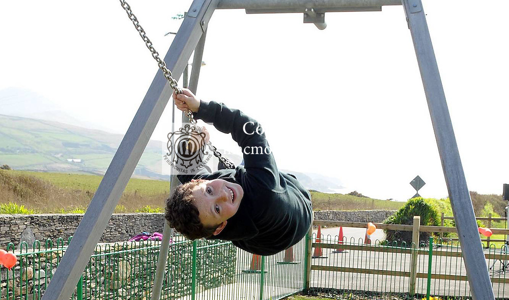 Gavin Reardon, (11), Portmagee,  in full flight as he enjoys the sunshine and the new facilities at the official opening of the new St Finans Bay Playground at The Glen, Ballinskelligs, Co. Kerry on Sunday.  Picture: Eamonn Keogh (MacMonagle, Killarney)
