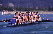 Sydney, AUSTRALIA, GBR m8+ move away from the start pontoon at the 2000 Olympic Regatta, Penrith Lakes. [Photo Peter Spurrier/Intersport Images]  LINDSAY, Andrew, HUNT-DAVIS, Ben, DENNIS, Simon, ATTRILL, Louis, GRUBOR, Luka, WEST, Kieran.SCARLETT, Fred, TRAPMORE Steve and cox DOUGLAS, Rowley Rowing Course: Penrith Lakes, NSW 2000 Olympic Regatta Sydney International Regatta Centre (SIRC) 2000 Olympic Rowing Regatta00085138.tif