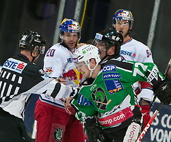 08.03.2011, Volksgarten, Salzburg, AUT, EBEL, EC Red Bull Salzburg vs HDD TILIA Olimpija Ljubljana, im Bild die Schiedsrichter mussten Daniel Welser , (EC Red Bull Salzburg, (# 20) und  John Hughes, (HDD TILIA Olimpija Ljubljana, (# 72) trennen // during the Eishockey Erste Bank Playoff Match between EC Red Bull Salzburg vs HDD TILIA Olimpija Ljubljana on 08/03/2011, EXPA Pictures © 2011, PhotoCredit: EXPA/ J. Feichter