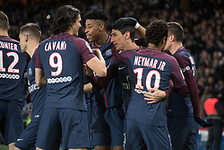Angel Di Maria of Paris Saint-Germain celebrates his first goal with with his teammates during the Ligue 1 match between  Paris Saint Germain and Dijon FCO at the Parc des Princes in Paris, FRANCE on January 17, 2017.Paris Saint Germain won Dijon FCO with 8-0 (Credit Image: © Jack Chan/Chine Nouvelle/Xinhua via ZUMA Wire)