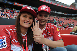 19 May 2018, Johannesburg. Emirates Airlines Park, Ellis Park. Charne van Buuren and fiance RJ Coetzee from Krugersdorp show off her ring after she accepted his surprise engagement proposal on the field before the game. <br />Gauteng Emirates Lions vs Canberra Brumbies. Picture: Karen Sandison/African News Agency (ANA)
