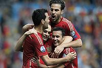 Spain's Sergio Busquets, Andres Iniesta, Cesc Fabregas and Pedro Rodriguez celebratre goal during 15th UEFA European Championship Qualifying Round match. September 5,2015.(ALTERPHOTOS/Acero)