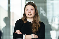 12 MAR 2020, BERLIN/GERMANY:<br /> Luisa Neubauer, Klimaschutzaktivistin, Fridays for Future, waehrend einem Interview, Redaktion Rheinische Post<br /> IMAGE: 20200312-01-028