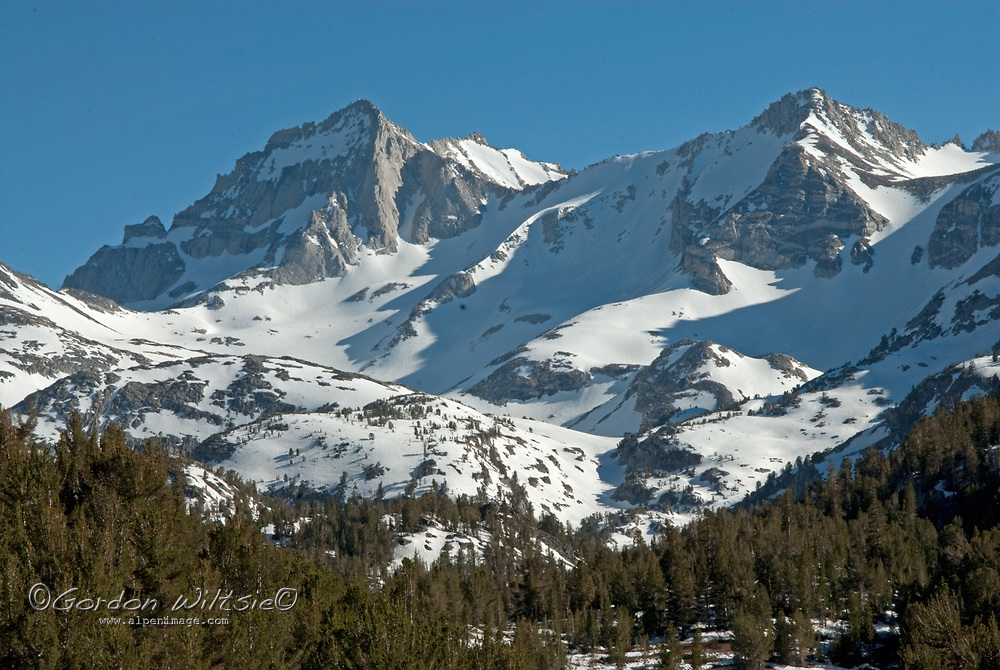 Bear Creek Spire towers over Little Lakes Valley, at the head of Rock Creek Canyon in California's eastern Sierra Nevada.