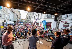 Primoz Roglic, Jan Polanc and Tadej Pogacar waving to supporters during reception of best Slovenian riders after Giro d'Italia 2019 and Tour of California 2019, on June 3rd, 2019, in Mestni trg, Ljubljana, Slovenia. Photo by Vid Ponikvar / Sportida
