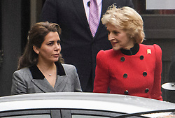 © Licensed to London News Pictures. 15/11/2019. London, UK. PRINCESS HAYA BINT AL HUSSEIN (left) and her legal representative BARONESS FIONA SHACKLETON (right) are seen arriving at The Family Court devision of the Royal Courts of Justice in London where Sheikh Mohammed bin Rashid Al Maktoum and his wife Princess Haya Bint Al Hussein are currently in legal dispute over custody of their children. Princess Haya Bint Al Hussein has applied for a protection order and is seeking wardship of her children. Photo credit: Ben Cawthra/LNP