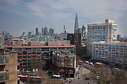 View over the rooftops from Elephant and Castle, London, UK. The area is now subject to a master-planned redevelopment budgeted at £1.5 billion. A Development Framework was approved by Southwark Council in 2004. It covers 170 acres and envisages restoring the Elephant to the role of major urban hub for inner South London.