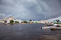 Around the port as a huge thunderstorm moves across Belize city.