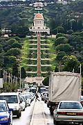 Israel, Haifa, A traffic jam in the street under the Bahai gardens in the German Colony
