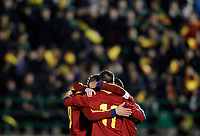 Spain's players celebrate goal during international sub21 match.March 21,2013. (ALTERPHOTOS/Acero)