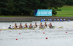 Great Britain's Anastasia Merlott Chitty, Rebecca Girling, Fiona Gammond, Katherine Douglas, Holly Hill, Holly Norton, Karen Bennett, Rebecca Shorten and Matilda Horn compete in the Women's Eight Preliminary Race for Lanes during day two of the 2018 European Championships at the Strathclyde Country Park, North Lanarkshire. PRESS ASSOCIATION Photo. Picture date: Friday August 3, 2018. See PA story ROWING European. Photo credit should read: Ian Rutherford/PA Wire. RESTRICTIONS: Editorial use only, no commercial use without prior permission