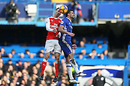 Diego Costa of Chelsea and Laurent Koscielny of Arsenal in action. Premier league match, Chelsea v Arsenal at Stamford Bridge in London on Saturday 4th February 2017.<br /> pic by John Patrick Fletcher, Andrew Orchard sports photography.
