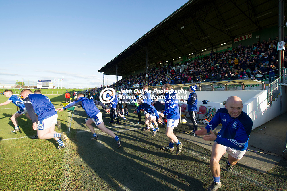 20-10-19. Kiltale v Kildalkey- Meath SHC Final (Replay) at Pairc Tailteann.<br /> The scene around the Kildalkey dugout as the referee blows the final whistle. <br /> Photo: John Quirke / www.quirke.ie<br /> ©John Quirke Photography, Unit 17, Blackcastle Shopping Cte. Navan. Co. Meath. 046-9079044 / 087-2579454.
