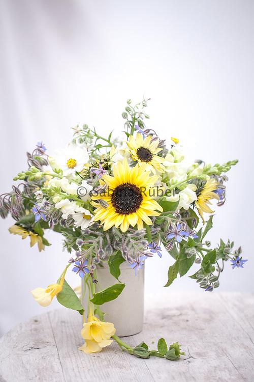 Flower Arrangement with blue and white borage, Antirrhinum majus 'Snowflake' - snapdragon, Cosmos 'Purity' and Helianthus annuus 'Valentine' - sunflower