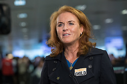© Licensed to London News Pictures. 11/09/2018. London, UK.  Sarah Duchess of York at the 14th Annual BGC Charity Day held on the trading floor of BGC Partners in Canary Wharf, to raise money for charitable causes in commemoration of BGC's 658 colleagues and the 61 Eurobrokers employees lost on 9/11.  Photo credit: Vickie Flores/LNP