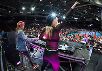 OTTAWA - JUNE 10:  Australian Grammy-Award winning dj duo NERVO perform during the Volleyball Nations League at TD Arena in Ottawa, ON., Canada.<br /> <br /> June 10, 2018<br /> <br /> PHOTO: Steve Kingsman/Freestyle Photography
