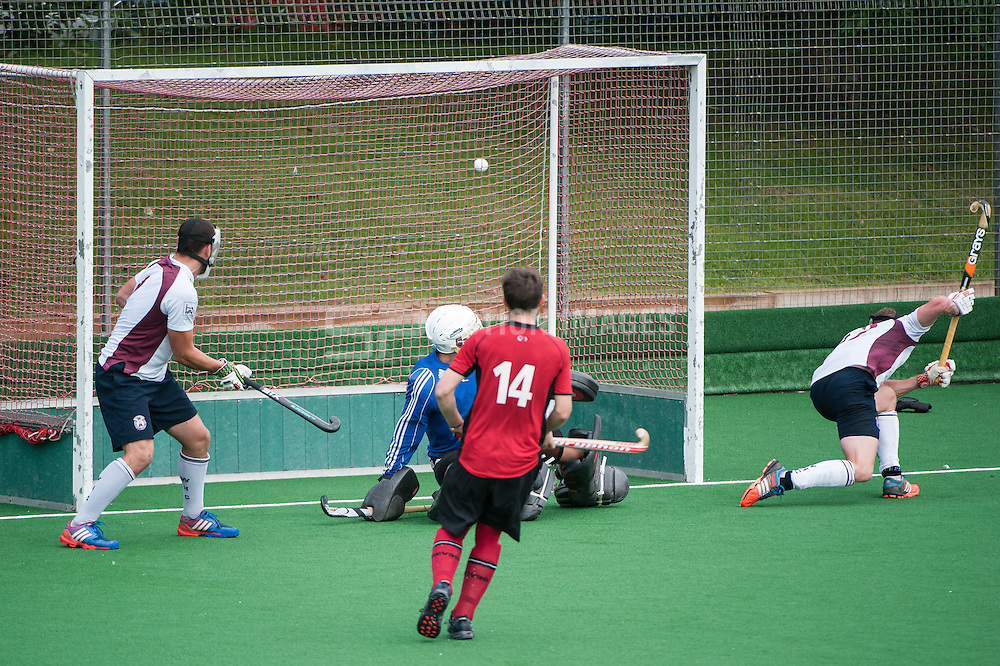 Southgate's Rick Gay narrowly misses from a penalty corner. Southgate v Wimbledon - Now: Pensions National Hockey League, Premier Division, Trent Park, London, UK on 27 September 2014. Photo: Simon Parker