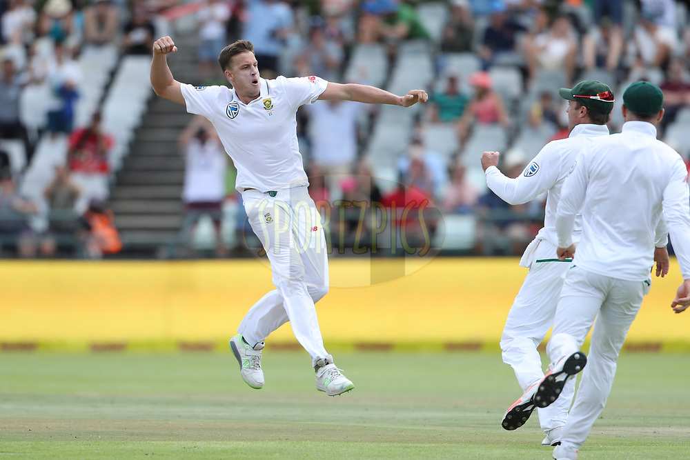 Morne Morkel of South Africa celebrates the the wicket of Cheteshwar Pujara of India during day four of the first Sunfoil Test match between South Africa and India held at the Newlands Cricket Ground in Cape Town, South Africa on the 8th January 2018<br /> <br /> Photo by: Ron Gaunt / BCCI / SPORTZPICS