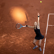 PARIS, FRANCE June 10. Maria Sakkari of Greece serving against Barbora Krejcikova of the Czech Republic on Court Philippe-Chatrier during the semi finals of the Women's singles competition at the 2021 French Open Tennis Tournament at Roland Garros on June 10th 2021 in Paris, France. (Photo by Tim Clayton/Corbis via Getty Images)