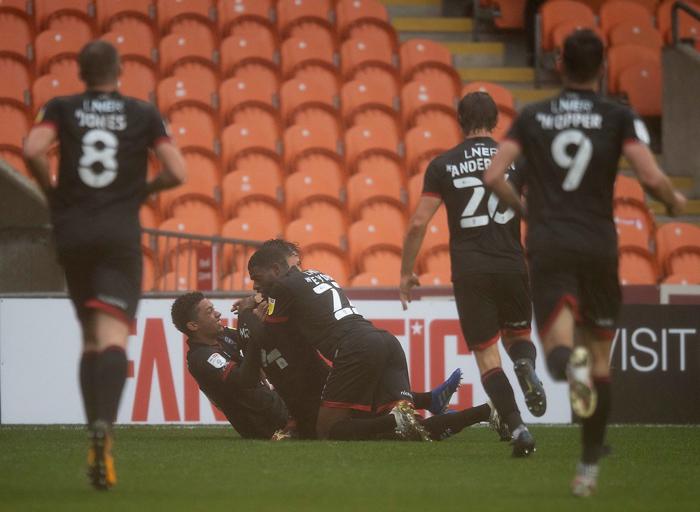 Lincoln City's Lewis Montsma celebrates scoring his side's third goal with team-mates<br /> <br /> Photographer Chris Vaughan/CameraSport<br /> <br /> The EFL Sky Bet League One - Blackpool v Lincoln City - Saturday 3rd October 2020 - Bloomfield Road - Blackpool<br /> <br /> World Copyright © 2020 CameraSport. All rights reserved. 43 Linden Ave. Countesthorpe. Leicester. England. LE8 5PG - Tel: +44 (0) 116 277 4147 - admin@camerasport.com - www.camerasport.com
