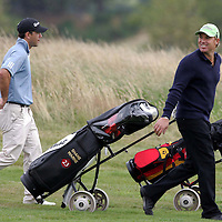 Australian cricketers play golf at Gleneagles...<br /> Shane Warne and Ricky Ponting head up the first hole of the Kings Course.<br /> Picture by Graeme Hart.<br /> Copyright Perthshire Picture Agency