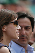 Roland Garros. Paris, France. June 10th 2007..Men's Final..Charlotte Gainsbourg (left) and her husband Yvan Attal (right)..