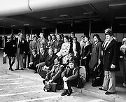 Abbey actors leave for a tour of Finland and the USSR. Well-known faces include John Kavanagh and Eamon Morrissey.<br /> 15/05/1973