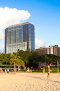 Trump International Hotel Waikiki Beachwalk is a luxury resort property located in downtown Honolulu, just one block off of the popular Waikiki Beach.  The units all have complete kitchens and luxurious amenities with stunning views of the Pacific Ocean.  The hotel also offers spa services and it's signature spa bath amenities.  The view of the property from Waikiki beach.