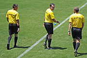 Match referee Nick Waldron (centre) with assistant referee Gareth Sheehan (left) and Mark Rule (right) before the Handa Premiership football match, Hawke's Bay United v Waitakere United, Bluewater Stadium, Napier, Sunday, December 20, 2020. Copyright photo: Kerry Marshall / www.photosport.nz