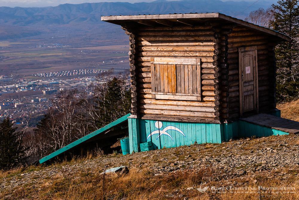 Russia, Sakhalin, Yuzhno-Sakhalinsk. Wooden building on the top of Gorny Vozdukh Ski center.