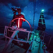 Leg 4, Melbourne to Hong Kong, day 09 on board MAPFRE, Pablo Arrarte stearing while Akzonobel is 30 meters in our back. Photo by Ugo Fonolla/Volvo Ocean Race. 10 January, 2018.