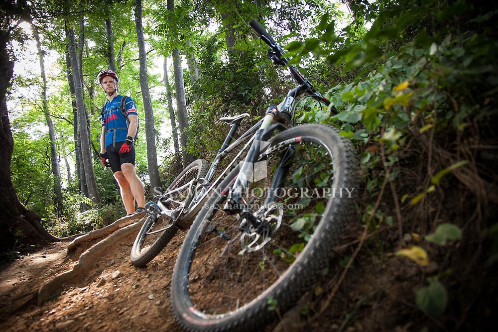 Photos of Russ Fender trail biking on Richmond's North Bank Trail