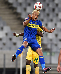 Cape Town-180818 Cape Town City striker Matthew Rusike wins an aerial ball against Nkanyiso Mngwengwe of Golden Arrows in a PSL match at Cape Town Stadium .photograph:Phando Jikelo/African News Agency/ANA