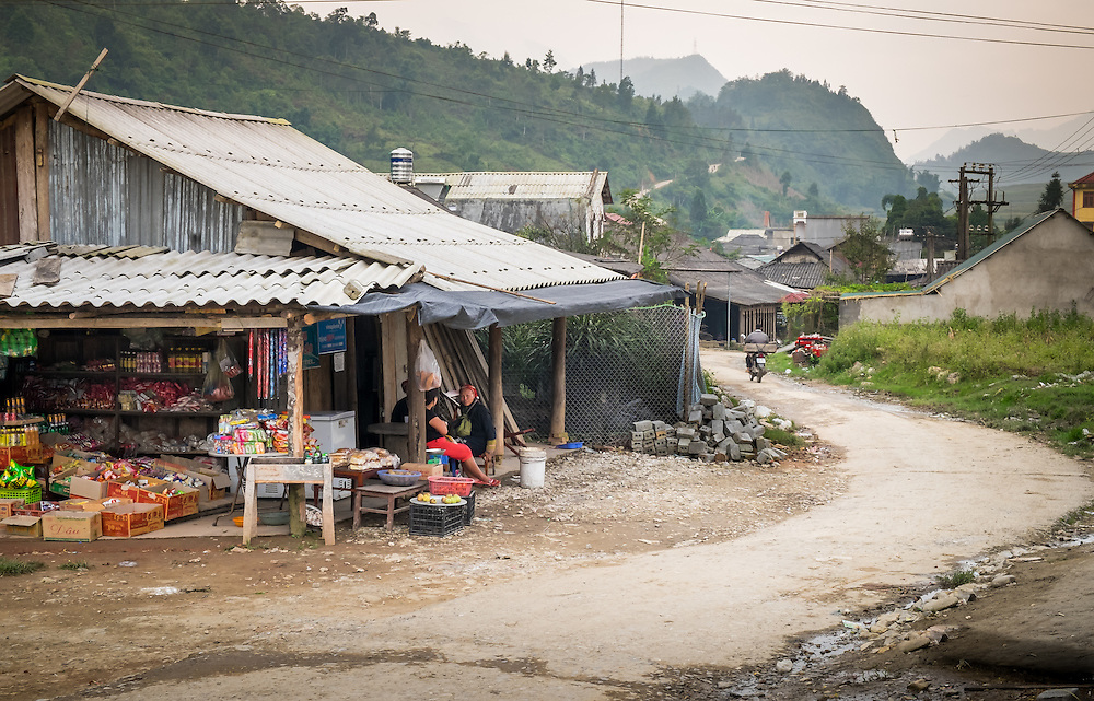SAPA, VIETNAM - CIRCA SEPTEMBER 2014:  Typical street scene in the Ta Phin Village in North Vietnam