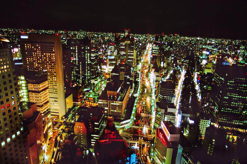 Night view of Osaka (traffic on Route 2), Japan