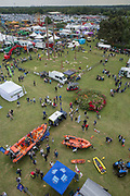 Elevated views of the annual Suffolk Show at the Suffolk Show Ground on the 29th May 2019 in Ipswich in the United Kingdom. The Suffolk Show is an annual show that takes place in Trinity Park, Ipswich in the English county of Suffolk. It is organised by the Suffolk Agricultural Association.